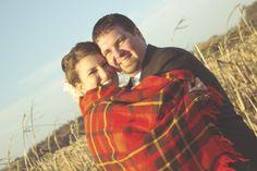 bride & groom cozy blanket photo, country wedding