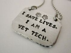 Veterinary Technician- Hand stamped necklace- hand stamped jewelry--personalized