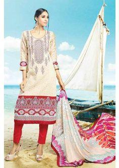 Cream Cotton Salwar Kameez, - £74.00, #SalwarKameez #OnlineDress #FashionUK #Shopkund