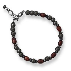 Hematite and Cultured Freshwater Pearl Bracelet        Price: $26.92