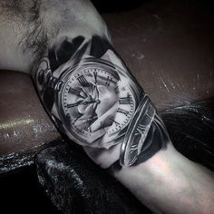 Glorious Grey Guys Pocket Watch Tattoo On Upper Arms