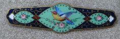 Victorian Enamel Bar Pin Roses Blue Bird