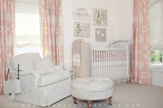 Adorable pastel pink nursery features a Restoration Hardware Baby & Child Belle Upholstered Crib with four different canvased and unframed art pieces above the crib mounted on the wall. Pink Curtains Nursery, Upholstered Crib, Baby Bedroom Furniture, Round Tufted Ottoman, French Nursery, Mary Mcdonald, Furniture Boutique, Restoration Hardware Baby, Pink Pillows