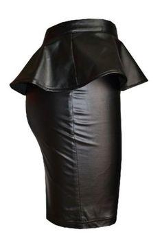 Fashion Mark - Womens Plus Size Wet Look Peplum Pencil Skirt Ladies Celebrity PVC Leather Skirt - Black - Sizes 8-24 (SM=8/10, Black): Amazon.co.uk: Clothing
