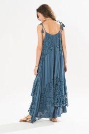 vestido longo shibori com renda