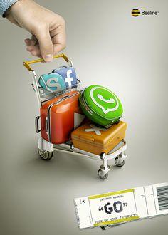 Gran acción de Beeline para promocionar el servicio de roaming internacional. La #solucion fue vestir a los logos de las redes sociales en maletas de viaje.