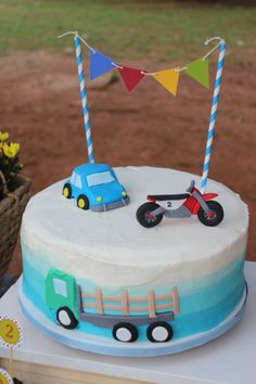 ✩ Check out this list of creative present ideas for coffee drinkers and lovers One Year Birthday Cake, 2nd Birthday Party For Boys, Baby Boy Birthday Cake, Happy Birthday Boy, Cars Trucks Birthday Party, Transportation Birthday, Motorcycle Birthday Cakes, Dump Truck Party, Birthday Party Boys