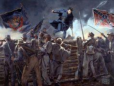 El capitán Charles Gould del 5º regimiento de Vermont trepando el terraplén de trinchera confederada, siendo el primer hombre del 6º cuerpo de la Unión en penetrar en las obras de la Confederación. Esta hazaña le valió la Medalla de Honor (3ª batalla de Petersburg, 2 de Abril de 1865).