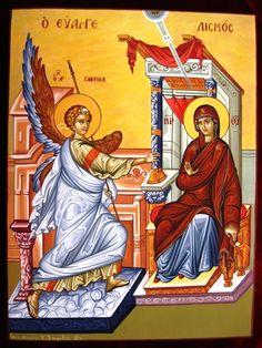 Ευαγγελισμός Annunciation (by Athina Alexopoulou Pappa) Religious Icons, Religious Art, Greek Icons, Images Of Mary, Social Themes, The Son Of Man, Madonna And Child, Catholic Art, Art Icon