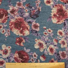 c7ff59496c0 Blue Purple Burgundy and Grey Floral Brushed Heathered Hacci Sweater Knit  Fabric, 1 Yard Purple