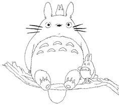 Totoro on tree limb coloring page