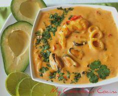 My Colombian Cocina - Cazuela de Mariscos - Güveç yemekleri - Las recetas más prácticas y fáciles Seafood Dishes, Seafood Recipes, Dinner Recipes, Cooking Recipes, Colombian Cuisine, Colombian Recipes, Cuban Recipes, Comida Latina, Latin Food