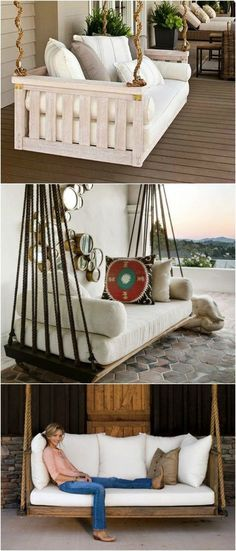 7 DIY Outdoor Swings That'll Make Warm Nights Even Better. Is Just Stunning Patio & Outdoor Furniture outdoor swing 7 DIY Outdoor Swings That'll Make Warm Nights Even Better. Is Just Stunning - 1001 Gardens Outdoor Furniture Plans, Diy Garden Furniture, Diy Pallet Furniture, Home Furniture, Furniture Design, Furniture Ideas, Modern Furniture, Antique Furniture, Rustic Furniture