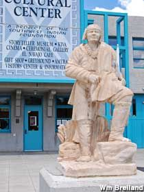A 12-foot-tall statue of Chief Manuelito of the Navajo. Stands in front of the Gallup Cultural Center. I-40 exit 22. Drive south, cross over the train tracks, then turn right onto Route 66. Drive a half-mile. The Center and Indian will be on the right.