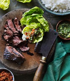 Korean-style barbecued skirt steak ssäm with ginger and spring onion sauce - Gourmet Traveller