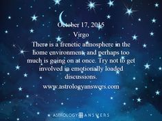 The Astrology Answers Daily Horoscope for Saturday, October 17, 2015 #astrology