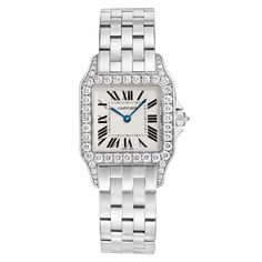 CARTIER White Gold and Diamond Santos Demoiselle Quartz ... Have it in yellow gold but want it in white