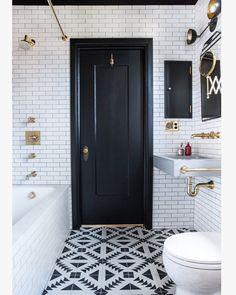 Love this tile and this black and white bathroom #blackandwhite #tile #goldaccents #flooring #bathroom #bathdesign #design #interiordesign #gold #black #white #hgtv #fixerupper #subwaytile by jillianalexandriainteriors