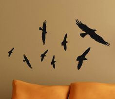 Flying Birds Vinyl Decals Flock of Black Bird Primitive Crow Decor Halloween Wall stickers on Etsy, $10.00