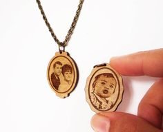 Portrait Necklace custom engraving by Vectorcloud on Etsy, $46.00