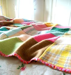 Repurposed wool blankets and sweaters... Blogged about here: http://rosehip.typepad.com/rose_hip_blog/2013/05/my-precious-woollies.html. Sew 'em together, back 'em with a pretty calico cotton, and voila you have a beautiful old fashioned-new tangled blanket! Here's another like it http://rosehip.typepad.com/rose_hip_blog/2010/11/christmas-at-hycroft.html