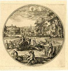 """Augustus"" after Hans Bol c.1580 Engraving"