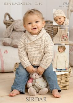 Childrens Sweaters, hat and Blanket in Sirdar Snuggly DK Discover more Patterns by Sirdar at LoveKnitting. The world's largest range of knitting supplies - we stock patterns, yarn, needles and books from all of your favourite brands. Knit Baby Sweaters, Boys Sweaters, Knitted Baby, Knitting Supplies, Knitting Projects, Knitting For Kids, Free Knitting, Sirdar Knitting Patterns, Crochet Patterns