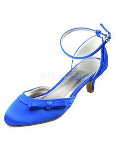 Blaue Brautschuhe mit Schleife und Fesselriemchen-No.2