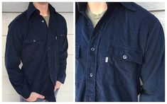 80's Levi's Navy Blue Corduroy Button Down Shirt //