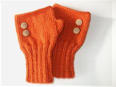 Fingerless Gloves. Fashion 2012. Girls Women. Valentines Day. Love. Orange/ Halloween. $25.00, via Etsy.