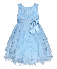 Loving this Ice Blue Rosette Ruffle Dress - Infant, Toddler & Girls on #zulily! #zulilyfinds