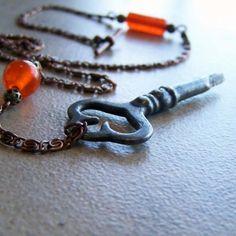 Vintage Key Necklace Repurposed Poppys Passion @akacinders