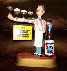 Pabst Blue Ribbon Vintage Bar Display Sign Metal Waiter Pub Bartender Made USA Bar Displays, Pabst Blue Ribbon, Vintage Bar, Vintage Glassware, Pos, Vintage Advertisements, Bartender, Vodka Bottle, Barware