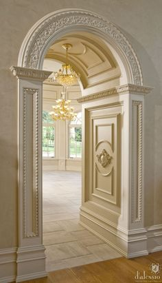 arched doorway and elaborate architectural details, classical style