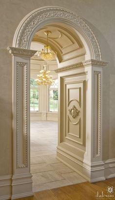 Unique Home Architecture. It looks like a castle corridor/arch leading to an elegant ballroom!