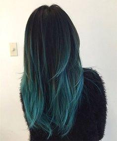 black and aqua blue ombré ✨