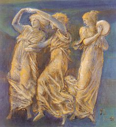 Pre Raphaelite Art: Three Female Figures Dancing and Playing - Edward Burne Jones Figure Drawing Female, Male Figure, Pre Raphaelite Brotherhood, Edward Burne Jones, Art Database, Portraits, Art Drawings, Dance, Illustration