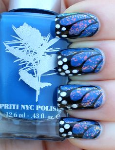 Bright blue butterfly wing nails