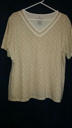 CORAL BAY PLUS 1X Beige & White Polka Dot Shirt #CoralBay #KnitTop #Casual