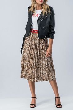 2857701a450bfc Elastic waist snakeskin pleated skirt with varsity stripe waistband. So  easy to throw on with