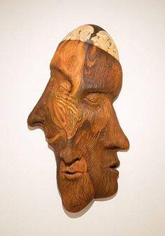 "Artist:Bill Abright. Old Growth, ceramic/ acrylic, 34"" x 19"" x 7"""