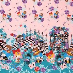 pink double border Little Twin Stars Alice in Wonderland Sanrio oxford fabric (per 0.5 yard multiples)