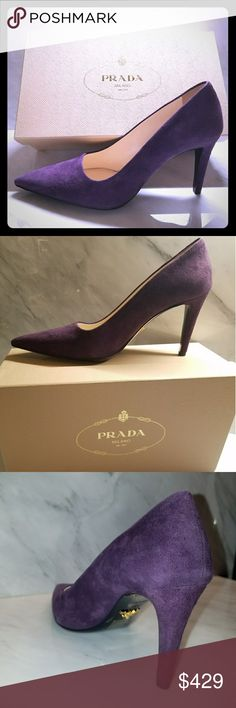 Prada NWT Purple Suede Stiletto Pumps Gorgeous! New Prada Milano stunners in plum purple suede. You will be amazed how comfortable these Size 38.5 (Italian) pumps are, and how they will add punch and style to any outfit. Fit like a US 8.5. Prada Shoes Heels
