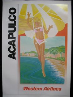 Western Airlines Acapulco Vintage Travel Poster