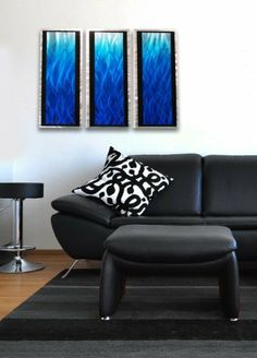 """""""Blue Flame 3D"""" Modern Abstract Metal Wall Art Sculpture Painting Home Decor by Enlightening Environments. $155.00. 36"""" x 24"""" x 2"""" display size, 3 panels 9 inches by 24 inches. Beautiful artwork from the artist, handmade in USA. Clear coat for protection.. Aluminum alloy plate. One of the most desired styles today, contemporary-abstract metal artwork has steadily grown in popularity. Meshing perfectly with modern contemporary architecture and interior décor, along with its u..."""
