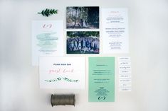 A custom designed wedding stationery suite for Chioni and CJ featuring the colours that were used throughout their wedding day.