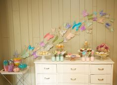 Butterfly Garden Party Dessert Table (styling by erin volante floral via onto baby}