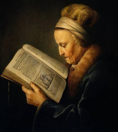 Rembrandt's Mother, entitled 'Old Woman Reading' (1640) by the Dutch painter Gerard Dou (1613-1675).