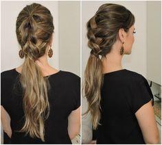 trança+fácil+sem+trançar+penteado+para+casamento+Penteado+para+O+Ano+Novo (2) Dreadlocks, Long Hair Styles, Beauty, Hair Dos, Ideas, Beleza, Dreads, Long Hairstyle, Long Hairstyles