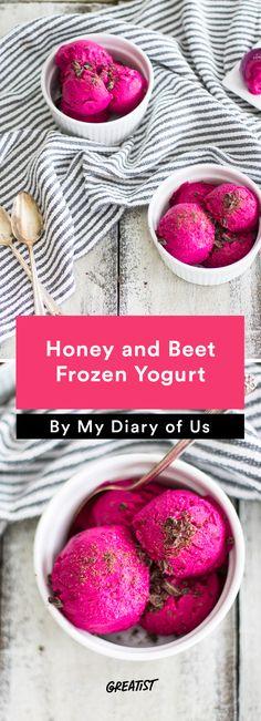 5. Honey and Beet Frozen Yogurt http://greatist.com/eat/frozen-yogurt-recipes-with-5-ingredients-or-less